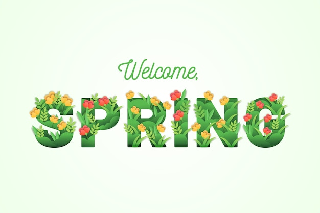 Spring background with colorful greeting