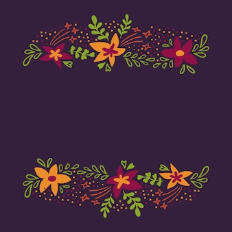 Spring background with cute colorful flowers in flat style.