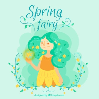 Spring background with cute fairy