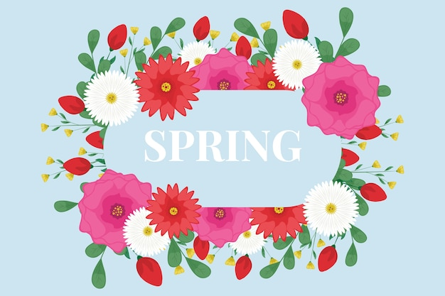 Spring background with floral frame