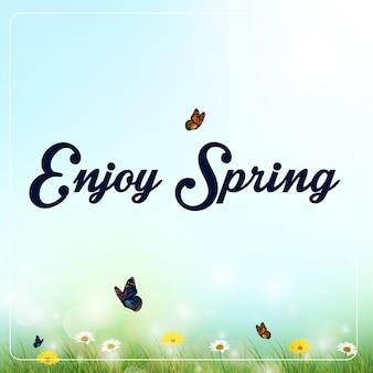 Весенний фон с цветами и бабочками на лугу