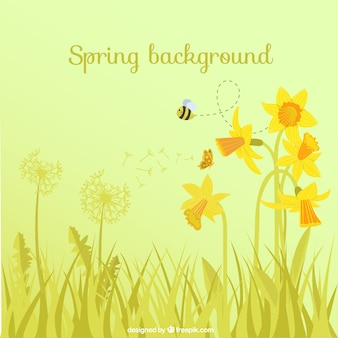 Spring background with flowers and bee
