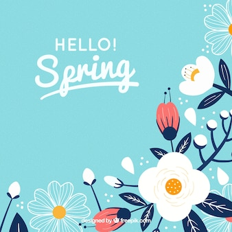 Spring background with flowers in flat style