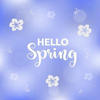 Spring background with flowers.season blue greeting card.