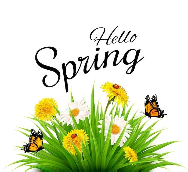 잔디, 꽃, 나비와 함께 봄 배경입니다. 벡터.