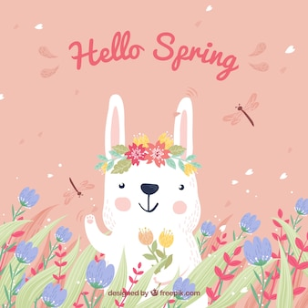 Spring background with hand drawn rabbit