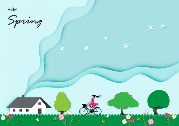 Spring background with paper art design vector