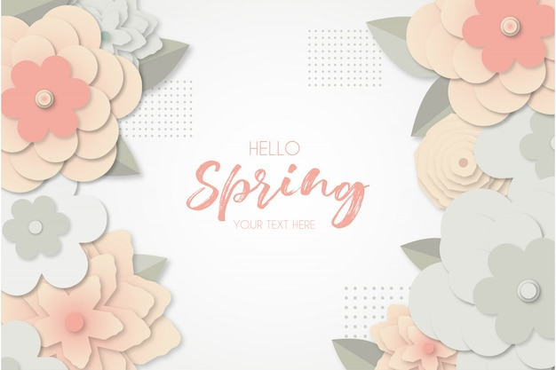 Spring background with papercut flowers
