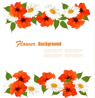Spring background with text template and colorful beautiful flowers.