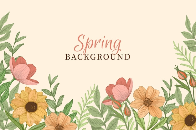 Spring background with vintage flowers