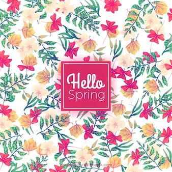 水彩画の花と葉と春の背景