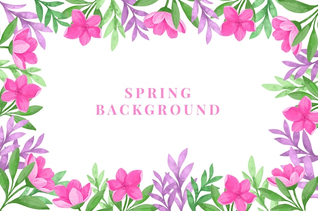 Spring background with watercolor flowers