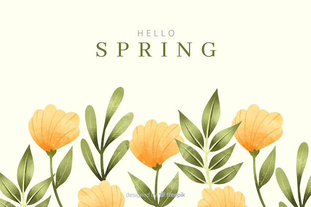 Spring background with watercolor yellow flowers