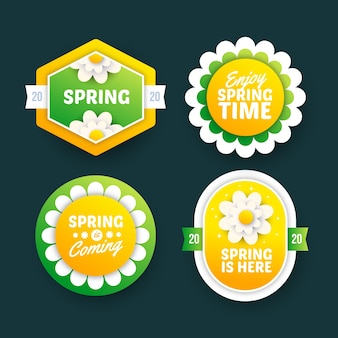 Spring badge collection in flat design