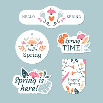 Spring badge collection with colourful leaves and flowers