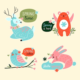 Spring badge collection with cute animals