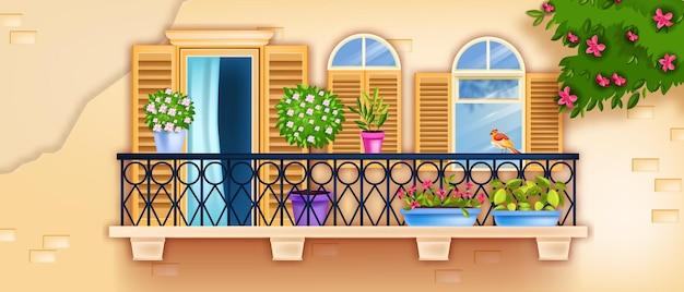春のバルコニーの窓、旧市街のファサードのイラスト