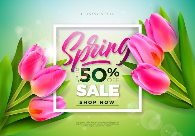 Spring banner. floral design template with typography letter