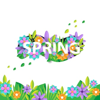 Spring banner template with flower