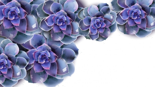 Spring banner with blue succulent flower watercolor