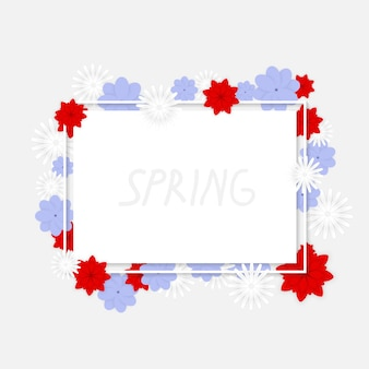 Spring banner with coloful flowers