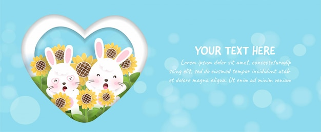 Spring banner with field of sunflower and cute rabbits in paper cut and craft style.