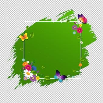 グラデーションメッシュ、イラストで分離された花と春のバナー