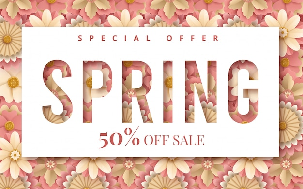 Spring banner with paper flowers for online shopping, advertising actions, magazines and websites