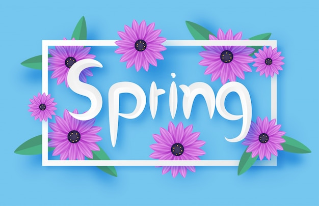 Spring banner with purple flower and frame in paper cut style.