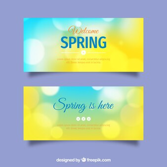 Spring banners in blurred style
