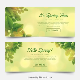 Spring banners in realistic style
