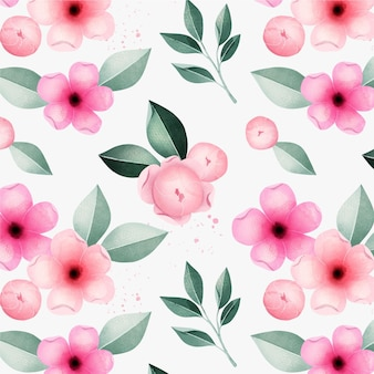 Spring beautiful pink flowers watercolour floral pattern