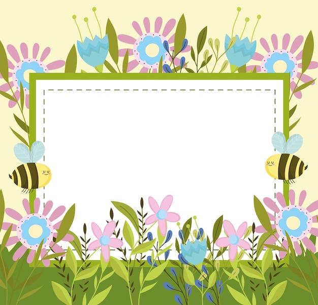 봄 꿀벌과 배너