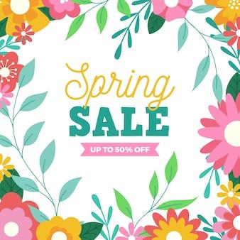 Весенние лучшие предложения продажи в окружении цветов и листьев