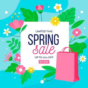 Spring best sale offers with flowers and paper bag