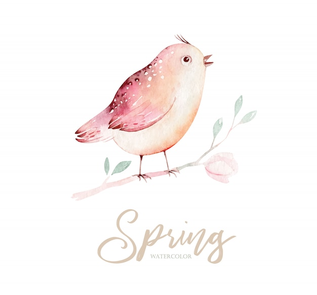 Spring bird on blooming branch with green leaves and flowers.