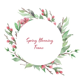 Spring blooming frame template. cherry blossom round border