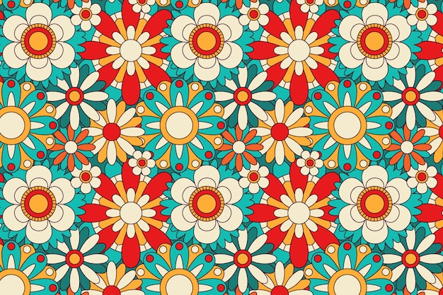 Spring blooming groovy floral pattern