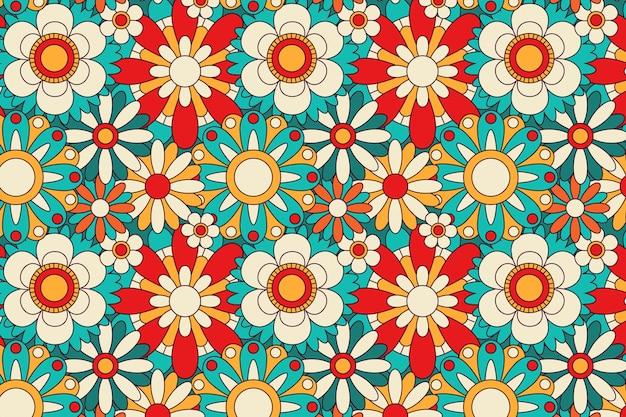 봄 개화 그루비 플로랄 패턴