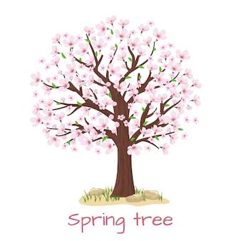 봄 꽃 벚꽃 나무. 꽃잎과 자연, 가지 식물, 벡터 일러스트 레이션
