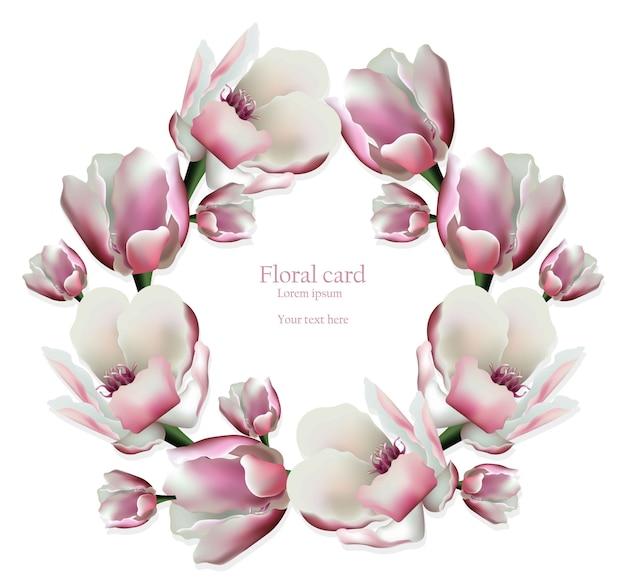 春の花の花輪の招待状