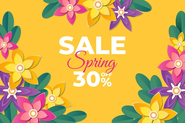 Spring blurred sale template with explosion of blooming flowers