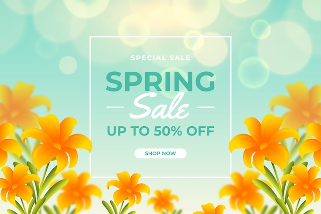 Spring blurred sale template with orange flowers and sky