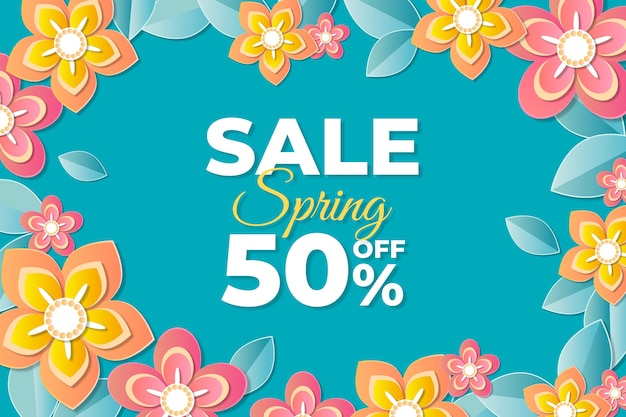 Spring blurred sale template with pink and orange flowers