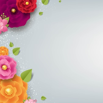 Spring border with color flowers grey background