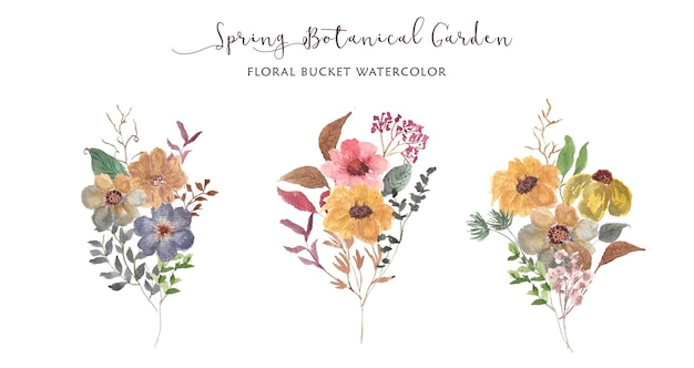 Spring botanical garden floral bouquet watercolor collection