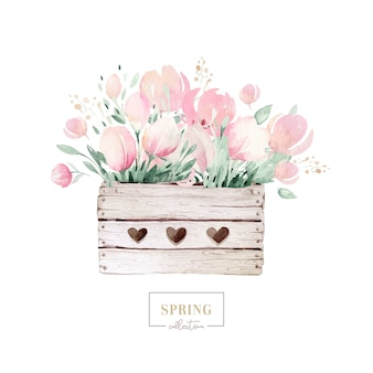Spring bouquet of blooming flowers with green leaves in wooden box. watercolor blossom painting. hand drawn pink  isolated floral design