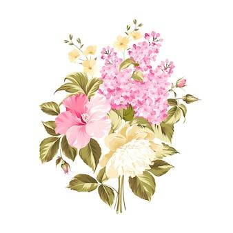 分離された春の花束の花。