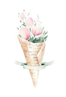 緑の葉と咲く花の春の花束。水彩花の絵。手描きピンク分離花柄