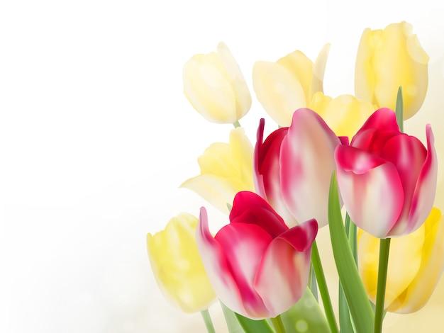 Весенний букет из розовых и желтых цветов.